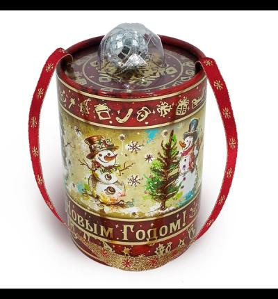 Новогодняя упаковка Туба Снеговики (диско-шар) 300г