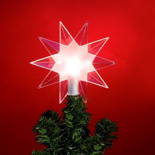 Звезда-наконечник для ёлок Tree Top Clear белая-матовая