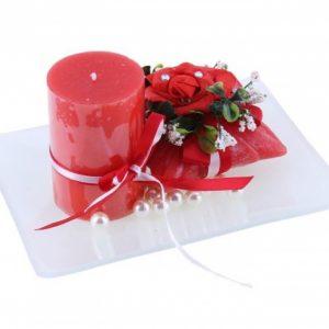 Свечи восковые (набор 2 шт + декор) «Нежность», цвет красный