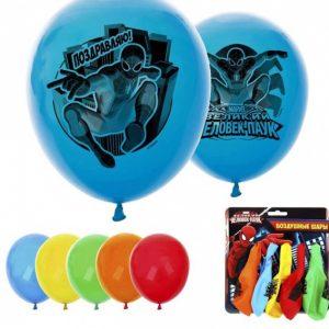 Воздушные шары «Поздравляю» Человек Паук (набор 5 шт) 12 дюйм 1175617