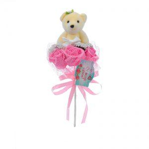 """Букет с мишкой """"От всей души"""" 3 цветка, розовый 1208484"""
