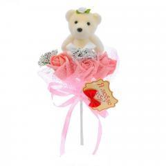 """Букет с мишкой """"Я люблю тебя"""" 3 цветка, коралловый 1208486"""