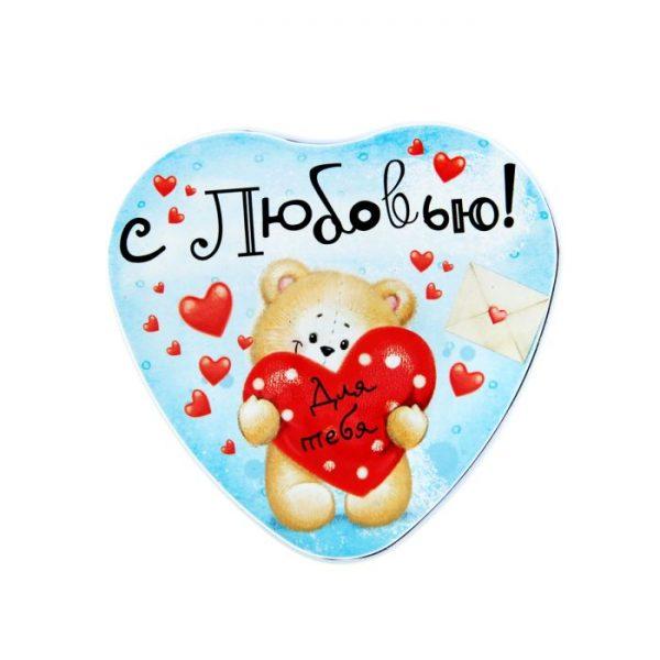 """Набор свеча-сердце и мыльное конфетти в шкатулке """"Мишка"""""""