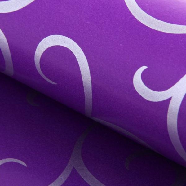 """Бумага упаковочная двухсторонняя """"Завитки"""", цвет фиолетовый"""