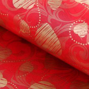Бумага упаковочная двухсторонняя «Сердце с завитками», цвет красный