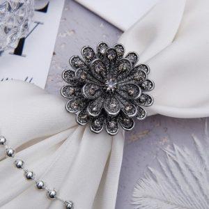 "Кольцо для платка ""Цветок"" пион, цвет серый 1353801"