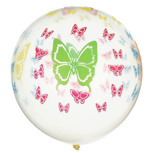 """Шар латексный 10"""" """"Бабочки цветные"""", прозрачный, набор 5 шт. 1460241"""