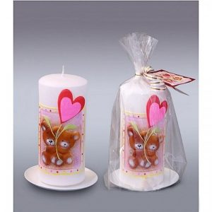 Свеча пенек с мишками   1612292