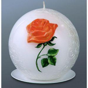 Свеча мигающая «Шар с розой»