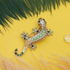 """Брошь """"Ящерица – хамелеон"""", разноцветная в серебре 2291621"""
