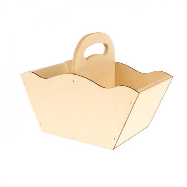 Ящик-корзинка для цветов и подарков №1 (дл.24см;шир.12,5см;выс.17см) фанера 3мм + фанера   2594508