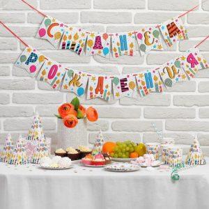 Набор бумажной посуды «С днем рождения»,  праздничные свечи (6 тарелок , 1 гирлянда , 6 стаканов, 6
