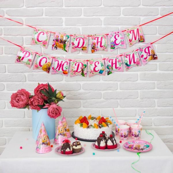 """Набор  бумажной посуды  """"С днем рождения!"""", Королевская Академия, на 6 персон, розы   2873045"""