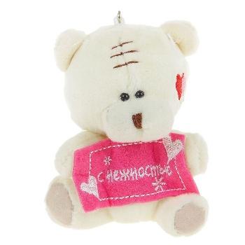 """Сувенирная игрушка-подвеска """"Мишка. С нежностью!"""", на щеке сердечки"""