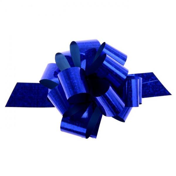Бант-шар №3 голография, цвет синий