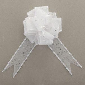 Бант-шар №3,8 «Пайетки», цвет белый