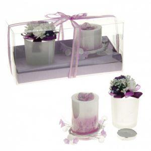 Свечи восковые (набор 2 шт + подсвечник + декор) «Шик», цвет сиреневый