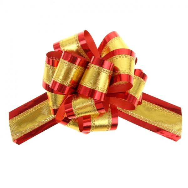 Бант-шар №5 золотой в красном 848855