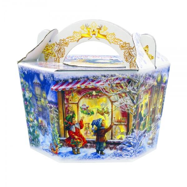 Новогодний подарок №8 «Корзина белый снег NEW» 1000 г  премиальный (без карамели)