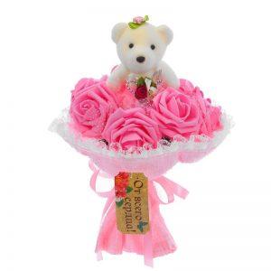 Букет с мишкой «От всего сердца» 7 цветов, розовый 1184555