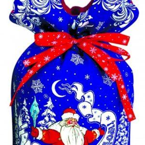 Новогодняя упаковка  Дедушка Мороз синий   600 г (ТЕКСТИЛЬ)