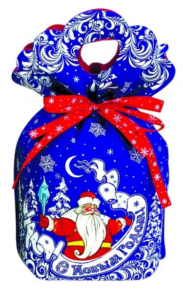 Новогодняя упаковка  Дедушка Мороз синий  500 г / 600 г (ТЕКСТИЛЬ)