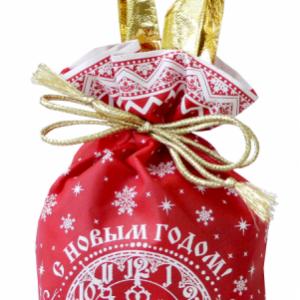 Новогодняя упаковка МЕШОЧЕК КРАСНЫЙ «Наступает Новый год»  800 г (ТЕКСТИЛЬ)