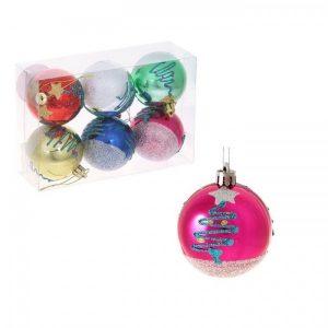 Новогодние шары «Неоновая ёлочка» (набор 6 шт.)