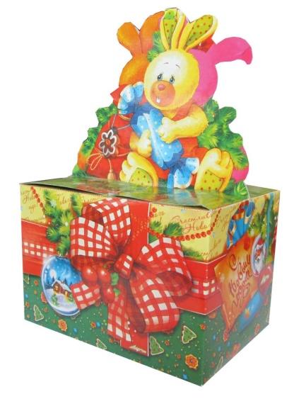 Новогодняя упаковка Подарок от зайчат 1000-1200г