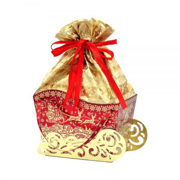Новогодний подарок №11 «Сани золотые» баул-мешочек 1500 г     премиальный