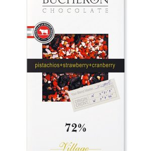 """Шоколад  """"Bucheron"""" горький с клюквой, клубникой, фисташками 72% , 100 г"""