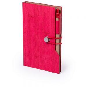 Блокнот A6 с ручкой для заметок со стикерами V2945 – Красный PP
