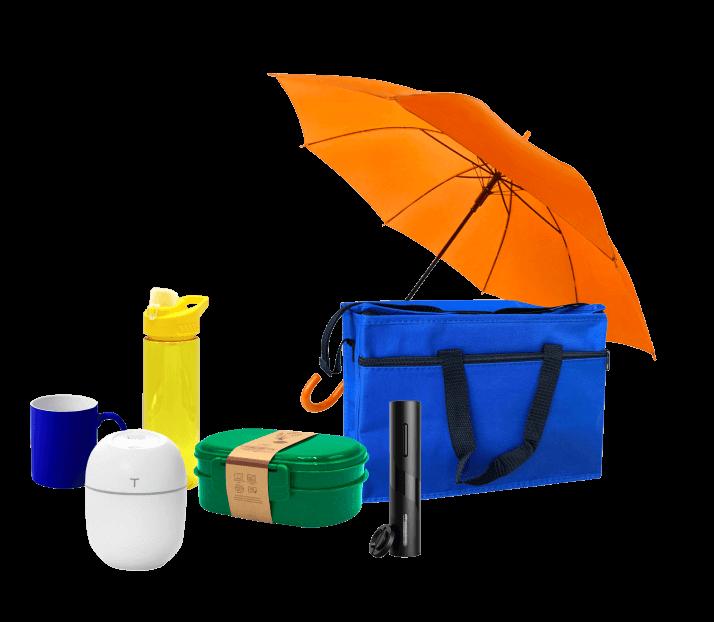 Кружка, лачн-бокс, бутылка для воды, сумка-холодильник, зонт-трость, увлажнитель, винный штопор