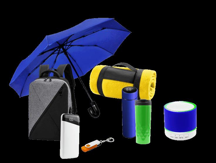 Складной зонт, термос и термокружка, плед, рюкзак, колонка, флешка, внешний аккумулятор